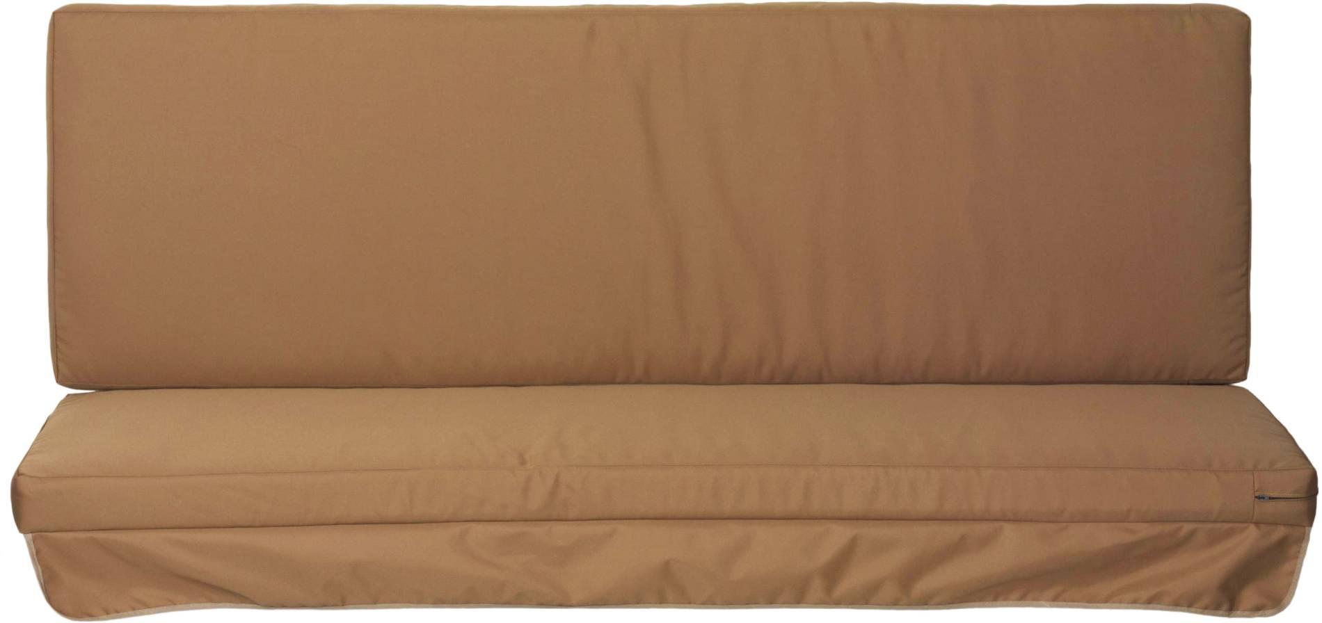 Premium Schaukelauflage Kissen mit Reissverschlüssen für Hollywoodschaukel wasserabweisend in sand 2-teilig