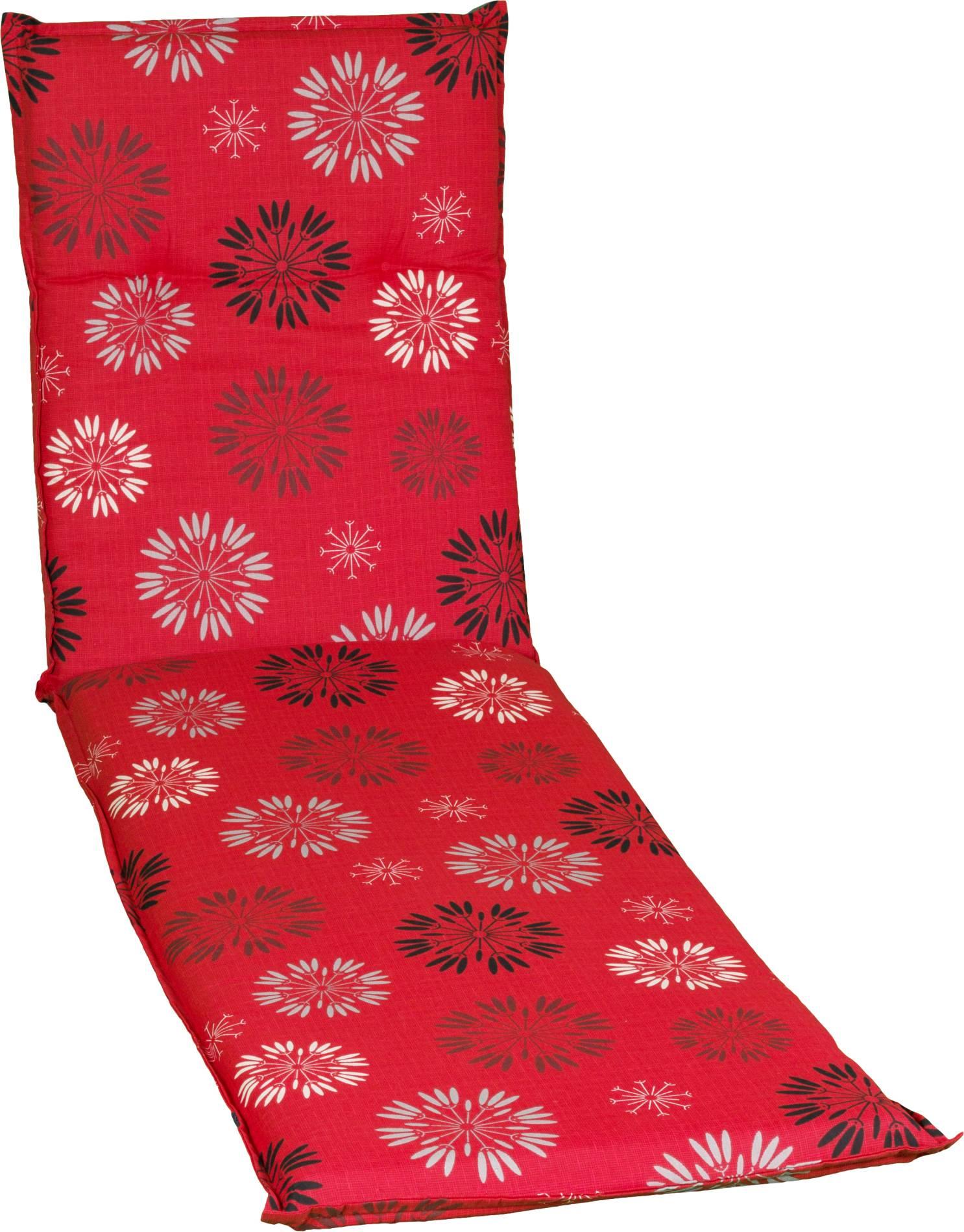 Auflage für Liege in rot mit floralem Pusteblumen-Muster