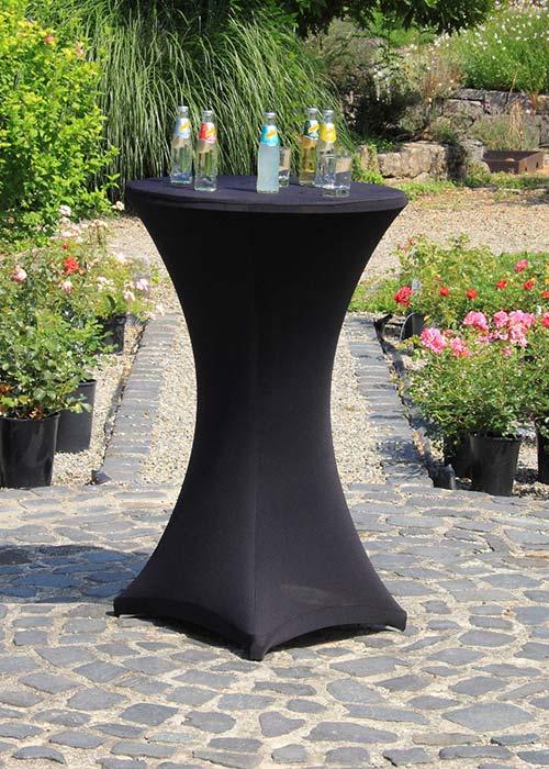 Stehtischhusse Stretch in schwarz 70cm Durchmesser 110-116cm hoch