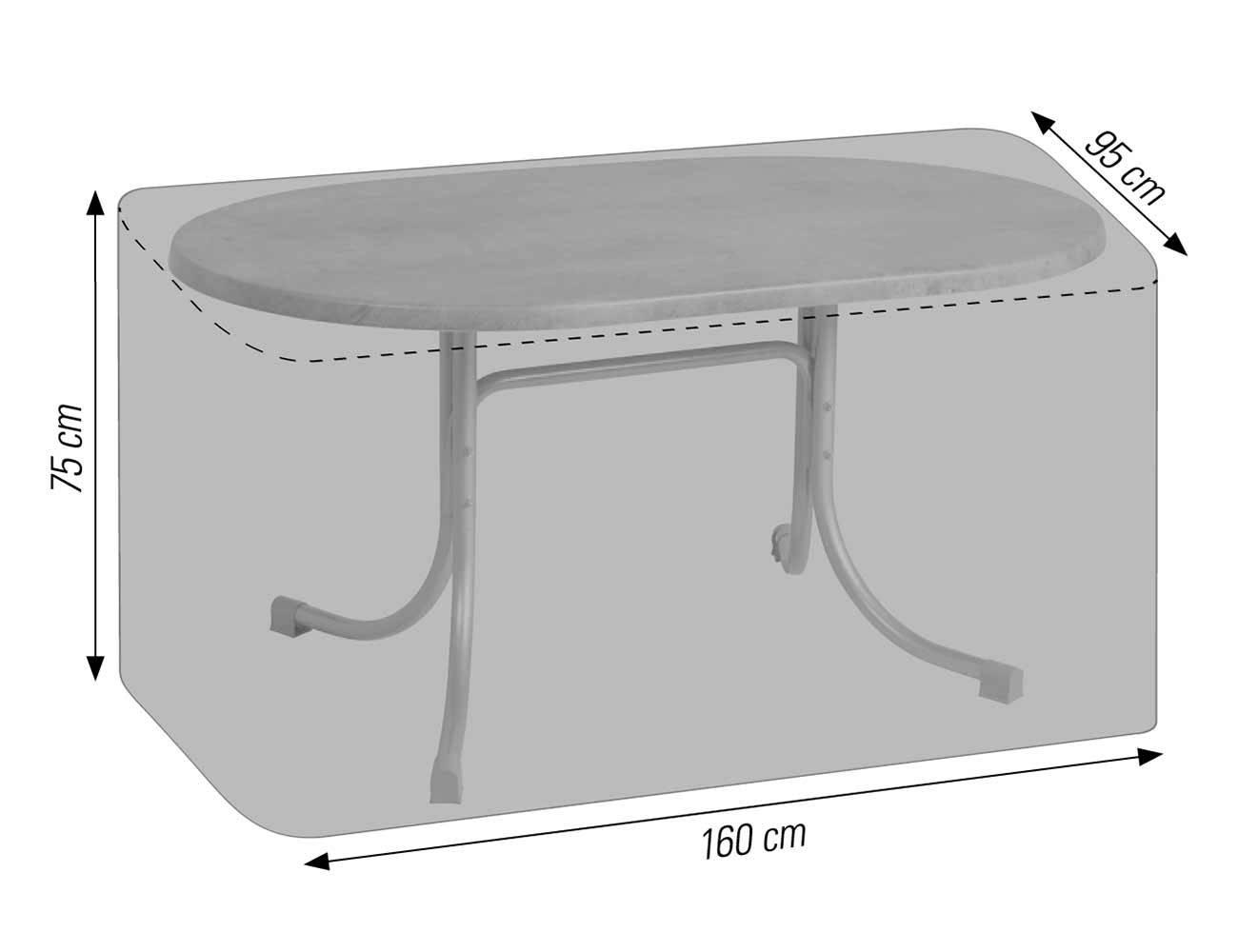Schutzhülle für ovale Tische bis 160x95 cm anthrazit acamp cappa Typ 57707