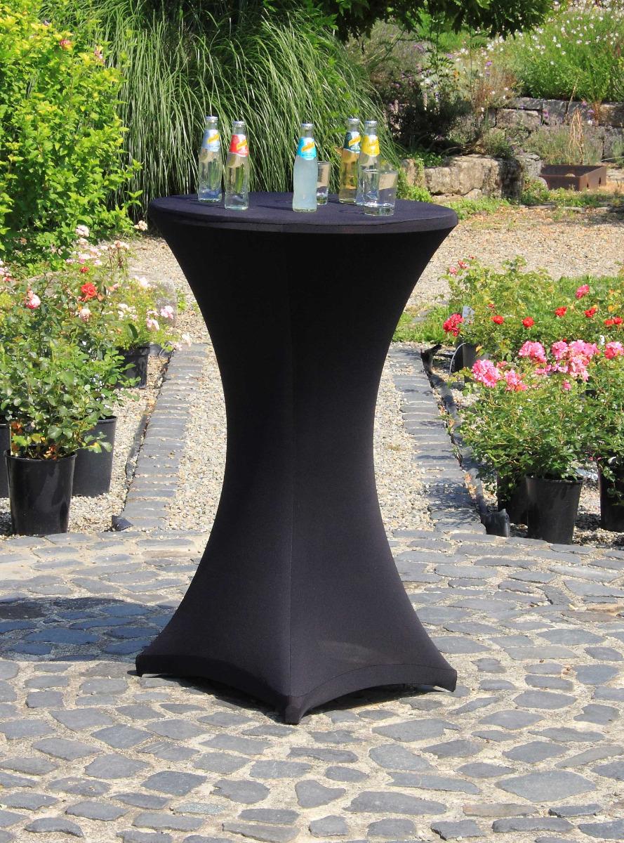 Stehtischhusse Stretch in schwarz 60cm Durchmesser 110-116cm hoch