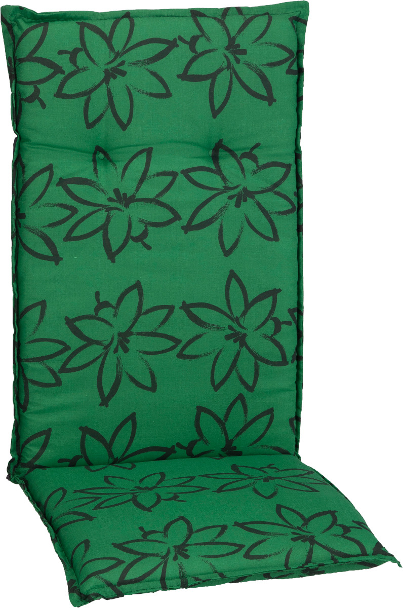 beo Gartenmöbel Auflage für Hochlehner in grün mit schwarzen Blüte M906