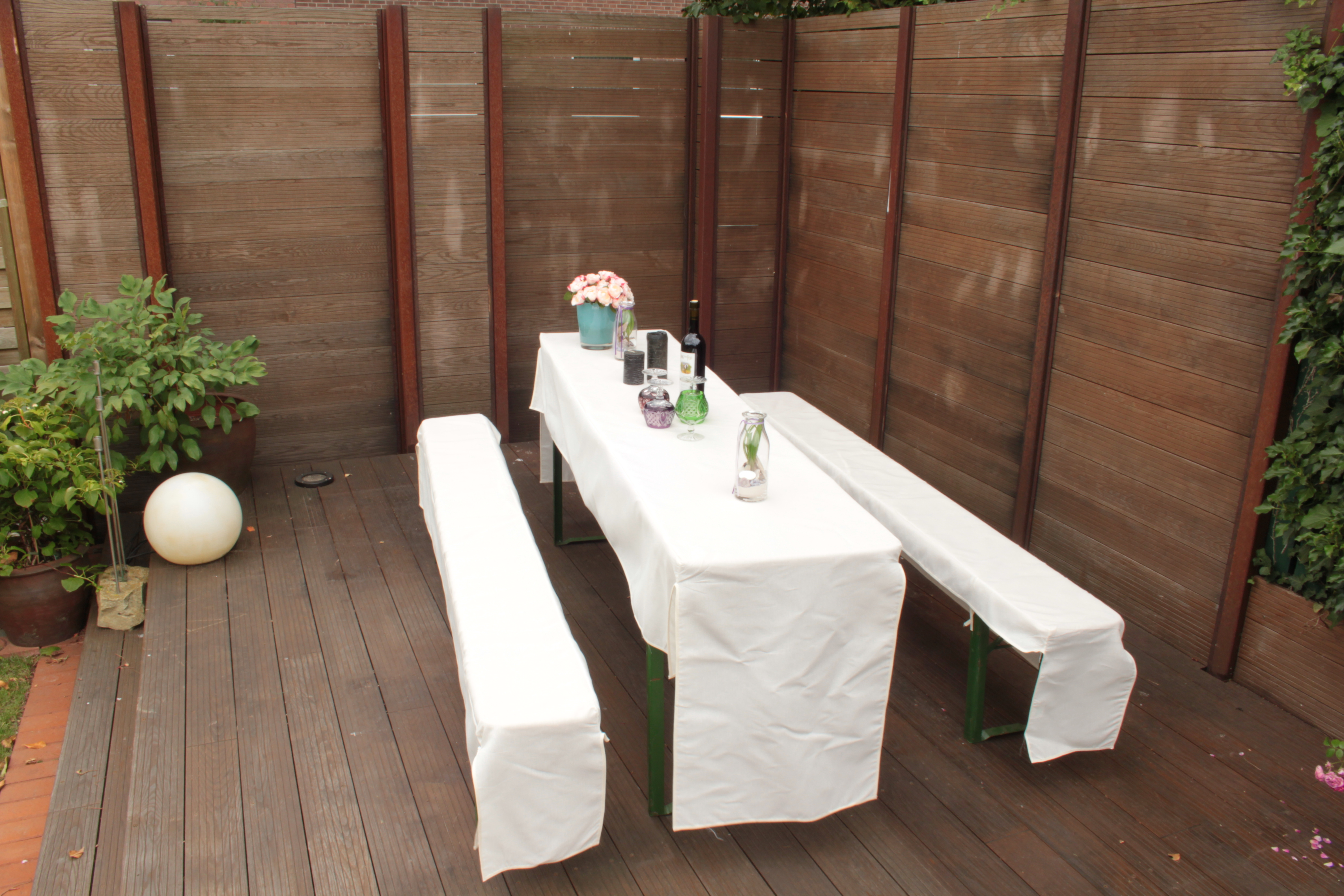 Bierbank Auflagen Set in beige 100% Polyester für 50cm breite Tische