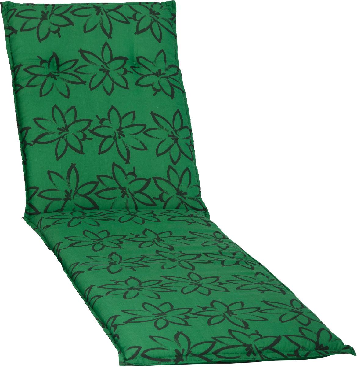 beo Gartenmöbel Auflage für Gartenliegen in grün mit schwarzer Blüte M906